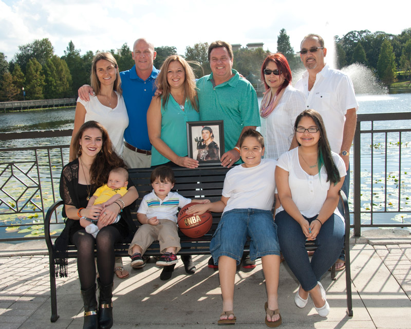 Photo with Angel Velez (Michael's liver recipient), Richard Currier (Michael's kidney recipient), and their families